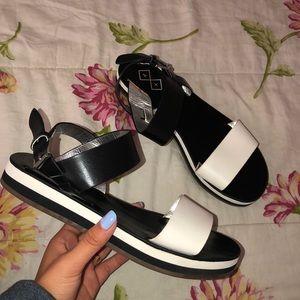 Black and White Slip Ons